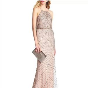 Adrianna Papell Halter Beaded Gown Dress 2 NWOT